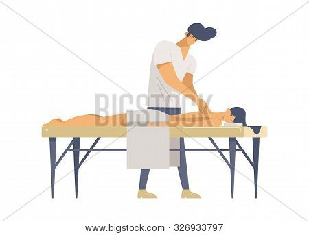 Professional Massage Therapy Flat Vector Illustrations. Young Specialist And Customer Cartoon Charac