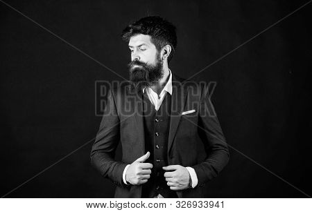 Impeccable Style. Man Bearded Guy Wear Suit Outfit. Perfect Elegant Tuxedo Outfit. Elegancy And Male