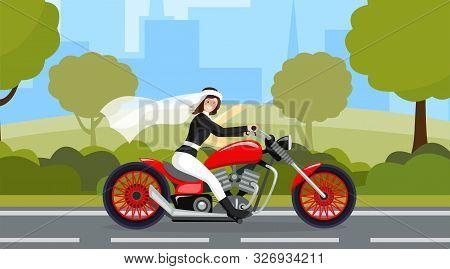 Bride Riding Motorbike Flat Character. Wedding Day, Marriage Preparation, Bridal Procession, Motorwa