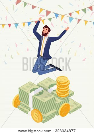 Successful Male Millionaire Vector Character. Happy Jumping Man, Honorarium Payee, Businessman In Su