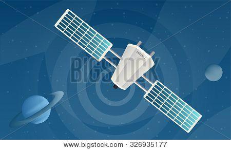Satellite Sending Signal Flat Vector Illustrations. Modern Telecommunication Equipment Broadcasting