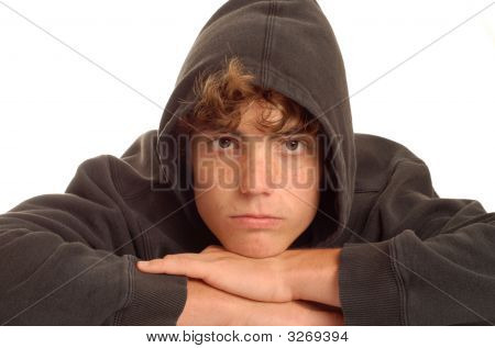 Teenage Boy With Black Hoodie