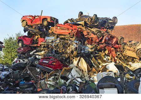 Car Scrap With Old And Damaged Cars