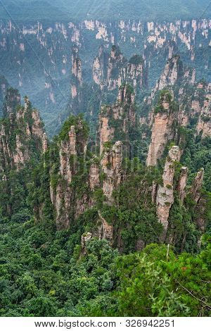 Vertical View Of The Stone Pillars Of Tianzi Mountains In Zhangjiajie National Park Which Is A Famou