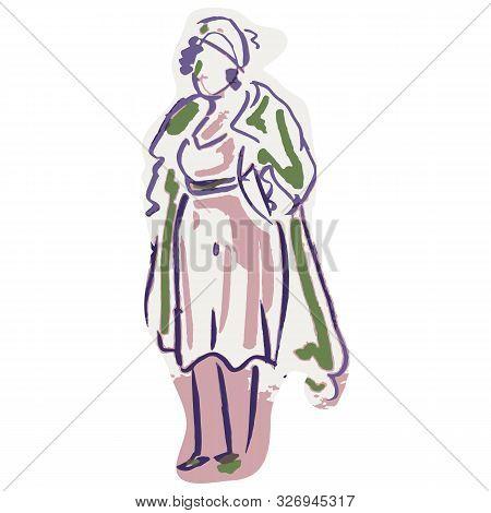 Textured 1950s Retro Woman Silhouette . Hand Drawn Vintage Fashion Model Clipart.