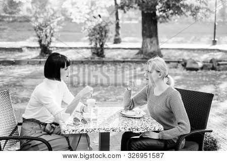 Friendship Meeting. Togetherness And Female Friendship. Conversation Of Two Women Cafe Terrace. True