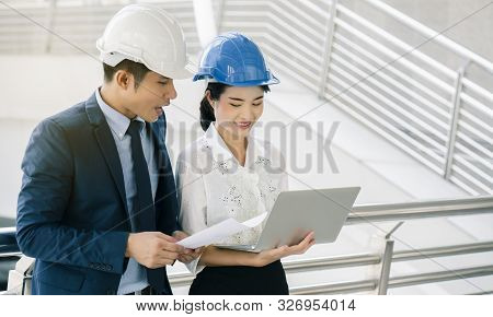 Quality Engineers Or Construction Teamwork. Safety Concern For Engineering Or Building Work Site Or