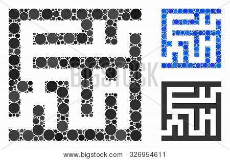 Labyrinth Mosaic Of Round Dots In Various Sizes And Shades, Based On Labyrinth Icon. Vector Round Do