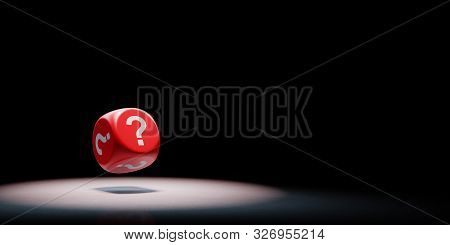 Red Dice With Question Mark On Every Face Spotlighted On Black Background With Copy Space 3d Illustr