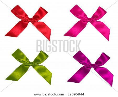 Collection Of Textile Bow Of Ribbon, Isolated On White