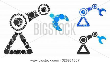 Robotics Manipulator Mosaic Of Filled Circles In Different Sizes And Color Tinges, Based On Robotics