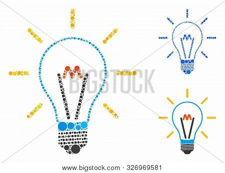 Invent Bulb Composition Of Circle Elements In Various Sizes And Color Hues, Based On Invent Bulb Ico
