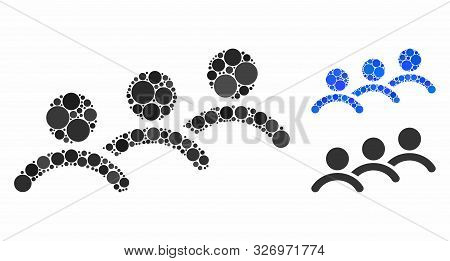 Man Queue Mosaic Of Small Circles In Different Sizes And Color Tones, Based On Man Queue Icon. Vecto