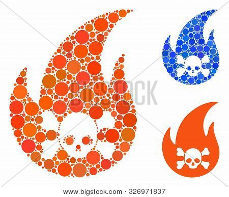 Hellfire Composition Of Small Circles In Variable Sizes And Color Hues, Based On Hellfire Icon. Vect