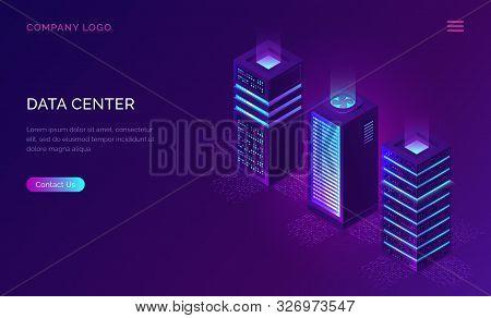 Date Center Isometric Concept Vector Illustration. Server Room With Hardware Racks Or Web Hosting In