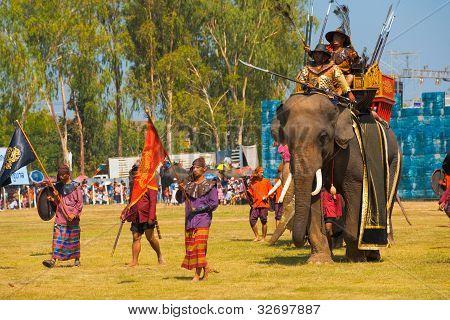 Thai King Enter Battle Elephant Close