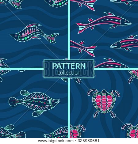 Set Of Four Seamless Fashion Colorful Fish And Turtle Patterns. Australian Art. Aboriginal Painting