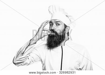 Professional Chef Man Showing Sign For Delicious. Chef, Cook Gesture By Kissing Fingers. Cook Hat. B
