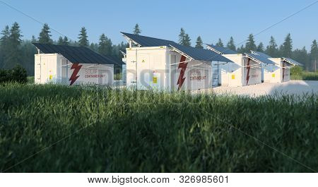 Concept Of Solar Container Units Situated In Sunny Fresh Nature With Grass In Foreground And Forest