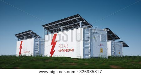Solar Container Unit. 3d Rendering Concept Of A White Industrial Battery Energy Storage Container Wi
