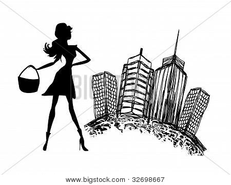 fashion silhouettes girl Shopping in the city