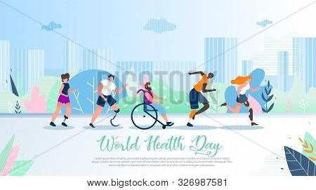 World Health Day Flat Vector Banner. Disabled Multinational Men And Women With Leg Prosthesis Runnin