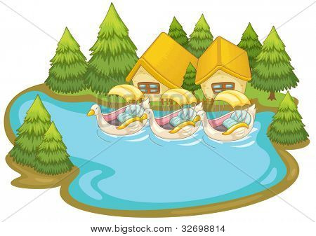 Illustraton of boats by holiday cabins - EPS VECTOR format also available in my portfolio.