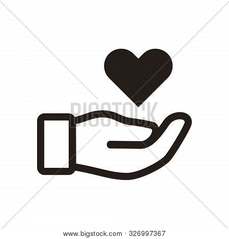 Hands Holding Heart Icon Isolated On White Background. Simple Illustration Of Hands Holding Heart Ic