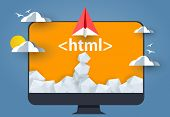 HTML Hyper Text Markup Language. paper plane or rocket launch from pc monitor with html tag poster
