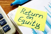 Return on equity inscription and pile of business documents. poster