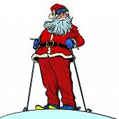 Santa Claus character on snow mountain merry Christmas and happy new year. Pop art retro vector illustration vintage kitsch drawing 50s 60s poster
