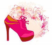 pink abstract shoes vintage poster , vector illuistration poster