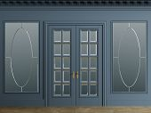 Classic interior walls with copy space.Blue walls with mirror in frames. Ornated cornice.Classic door. Floor parquet.Digital Illustration.3d rendering poster