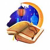 Ramadhan or Ramathan Ramadan Ramazan, Ramzan isolated kareem holy book, beads and mosque silhouette, crescent moon. Muslims month fasting sawm, prayer, community digital art illustration, web print. poster