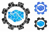 Smart contract setup gear mosaic for smart contract setup gear icon of circle elements in various sizes and color tones. Vector circle elements are grouped into blue mosaic. poster