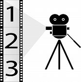 numbered film strip and movie camera with lights poster
