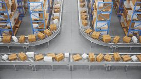 Packages Delivery, Parcels Transportation System Concept, Cardboard Boxes On Conveyor Belt In Wareho