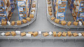 Packages Delivery, Parcels Transportation System Concept, Cardboard Boxes On Conveyor Belt In Wareho