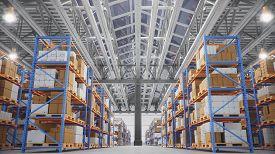 Warehouse With Cardboard Boxes Inside On Pallets Racks, Logistic Center. Huge, Large Modern Warehous