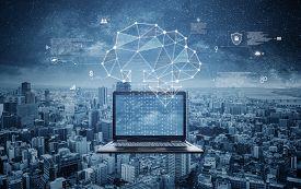 Cloud Computing Technology, Computer Laptop With Cloud Computing Technology Graphic