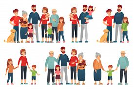 Cartoon Family Portraits. Happy Parents And Children Portrait, Old Grandmother And Grandfather. Big
