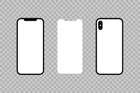 Front and back of the phone and screen. Smartphone icon in the style flat design. Iphone X