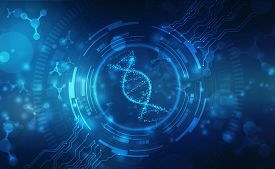 Abstract Technology Science Concept Dna Futuristic On Hi Tech Blue Background, Dna Structure, Abstra