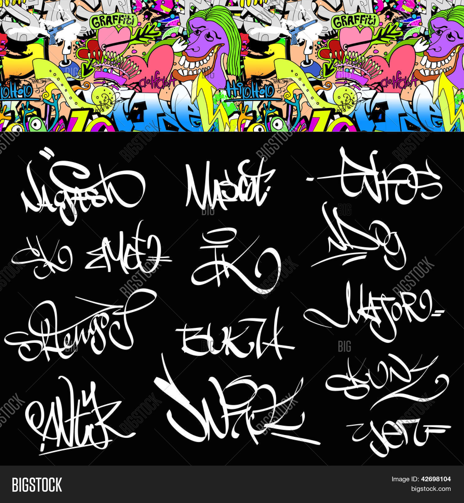 Graffiti font tags urban illustration set hip hop art design