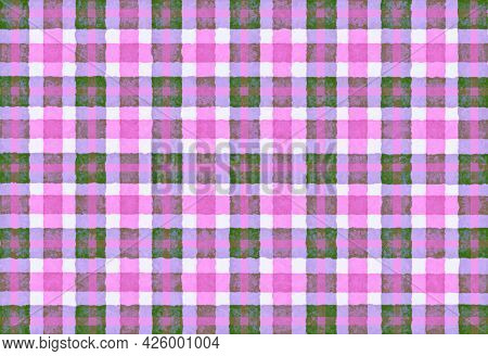 Pink Lilac Green Checkered Old Vintage Background With Blur, Gradient And Grunge Texture. Classic Ch