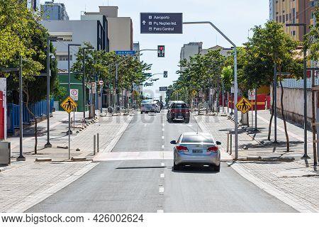 Campo Grande - Ms, Brazil - July 4, 2021: View Of The 14 De Julho Street, Revitalized Street Of Down