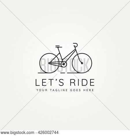 Let's Ride Bicycle Minimalist Line Art Icon Logo Template Vector Illustration Design. Simple Modern