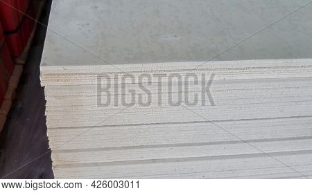 Stack Of Gypsum Boards. Drywall Packs. Close-up