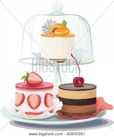 Strawberry creamy cake and chocolate cake on plate and apricot cake on cake stand under glass dome