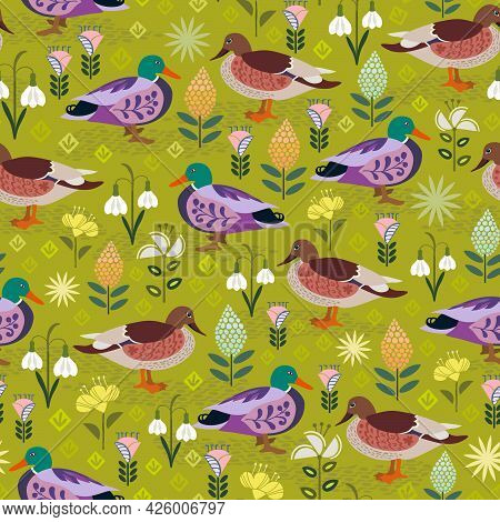 Duck And Drake Are Looking At Each Other In A Park With Folk Flowers. The Design Celebrates The Flor